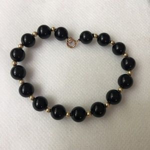 "14kt Gold Beads & 5mm Black Onyx 7"" Bracelet"